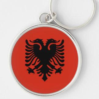 Bandeira de Albânia Chaveiro Redondo Na Cor Prata