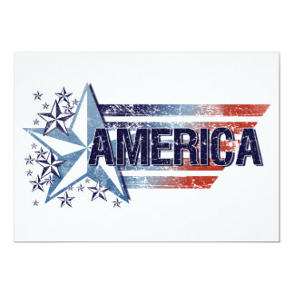 Bandeira de América do vintage com estrela - Convite 12.7 X 17.78cm