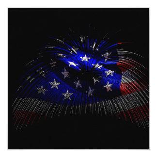Bandeira de América E.U. Convite Quadrado 13.35 X 13.35cm