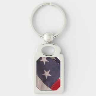 Bandeira de América Chaveiro Retangular Cor Prata