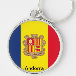 Bandeira de Andorra Chaveiro Redondo Na Cor Prata