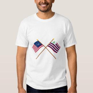 Bandeira de Bennington & bandeira cruzadas do T-shirt