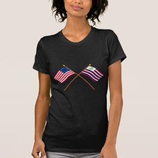 Bandeira de Betsy Ross & bandeira cruzadas do Camiseta