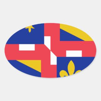 Bandeira de Bourgogne (France) Adesivos Em Formato Oval