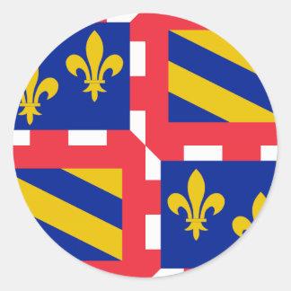 Bandeira de Bourgogne (France) Adesivos Em Formato Redondos