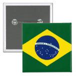 Bandeira de Brasil Bóton Quadrado 5.08cm