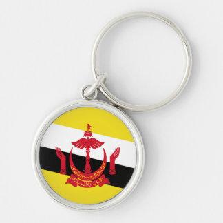 Bandeira de Brunei Chaveiro Redondo Na Cor Prata