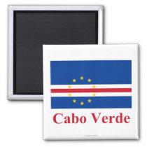 Bandeira de Cabo Verde com nome no português Ímã Quadrado