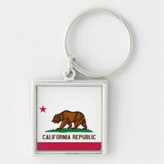 Bandeira de Califórnia Chaveiro Quadrado Na Cor Prata