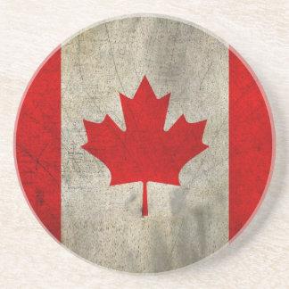 Bandeira de Canadá no Grunge Porta Copos De Arenito