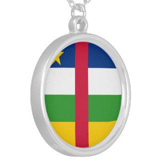 Bandeira de Central African Republic Colar Banhado A Prata