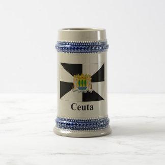 Bandeira de Ceuta com nome Caneca De Cerveja