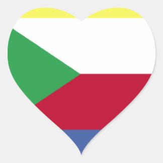 Bandeira de Cômoros Adesivo De Coração