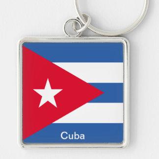 Bandeira de Cuba Chaveiro Quadrado Na Cor Prata