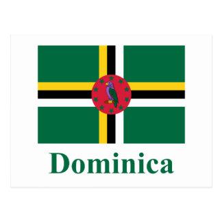 Bandeira de Dominica com nome Cartão Postal