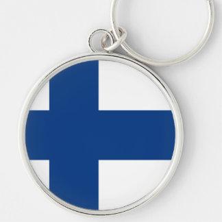 Bandeira de Finlandia Chaveiro Redondo Na Cor Prata