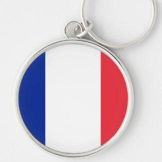 Bandeira de France Chaveiro Redondo Na Cor Prata