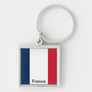 Bandeira de France Chaveiro Quadrado Na Cor Prata