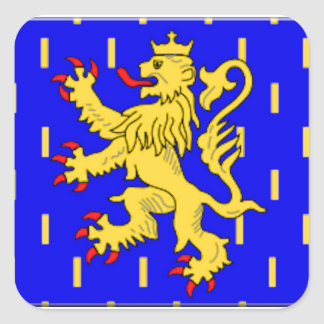 Bandeira de Franche-Comté (France) Adesivo Em Forma Quadrada