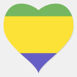 Bandeira de Gabon Adesivo Coração