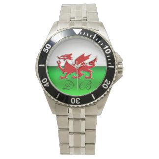 Bandeira de Galês do monograma, cromo-efeito Relógio De Pulso