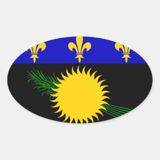 Bandeira de Guadalupe (France) Adesivos Ovais