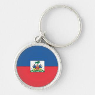 Bandeira de Haiti Chaveiro Redondo Na Cor Prata