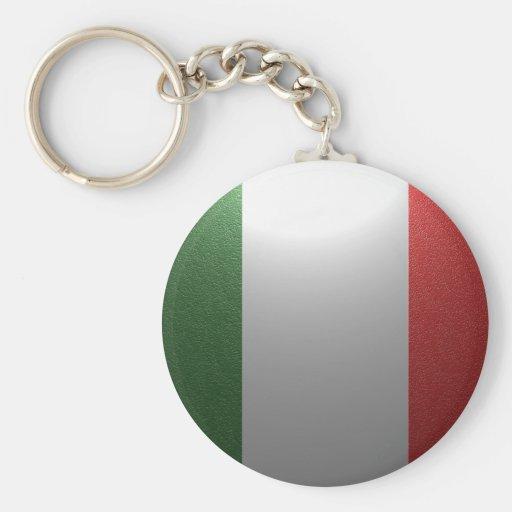Bandeira de Italia com efeito metálico Chaveiros