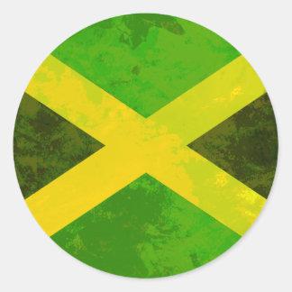 bandeira de jamaica - raizes da reggae adesivo em formato redondo