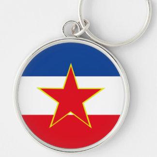 Bandeira de Jugoslávia Chaveiro Redondo Na Cor Prata