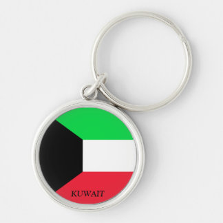 Bandeira de Kuwait Chaveiro Redondo Na Cor Prata