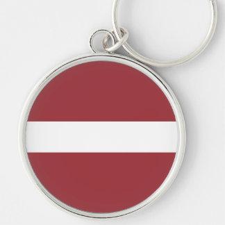 Bandeira de Latvia Chaveiro Redondo Na Cor Prata