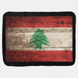 Bandeira de Líbano na grão de madeira velha Manta Para Bebe