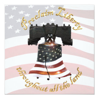 Bandeira de Liberty Bell w/American - proclame a Convite