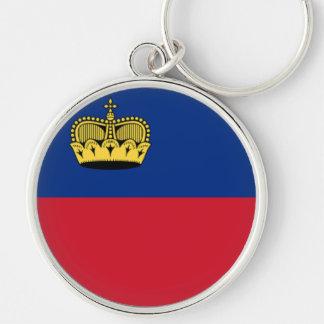 Bandeira de Liechtenstein Chaveiro Redondo Na Cor Prata