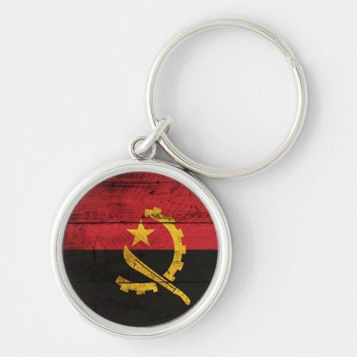 Bandeira de madeira velha de Angola Chaveiros