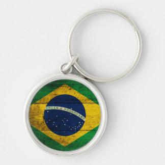 Bandeira de madeira velha de Brasil Chaveiro