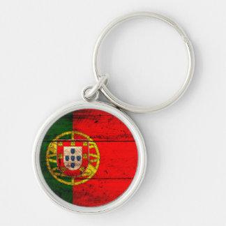 Bandeira de madeira velha de Portugal Chaveiros