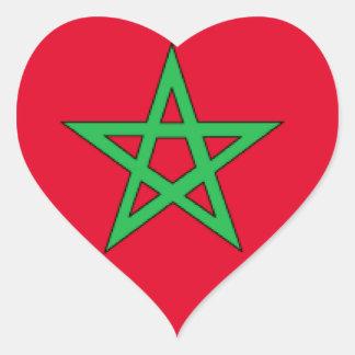 Bandeira de Marrocos Adesivo Em Forma De Coração