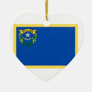 Bandeira de Nevada Ornamento De Cerâmica Coração