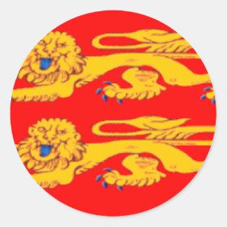 Bandeira de Normandy (France) Adesivo Em Formato Redondo