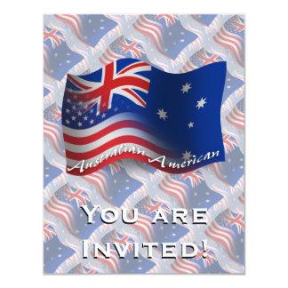 Bandeira de ondulação Australiano-Americana Convite 10.79 X 13.97cm