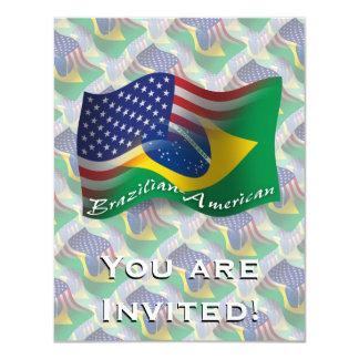 Bandeira de ondulação Brasileiro-Americana Convite 10.79 X 13.97cm