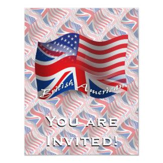 Bandeira de ondulação Britânico-Americana Convite 10.79 X 13.97cm