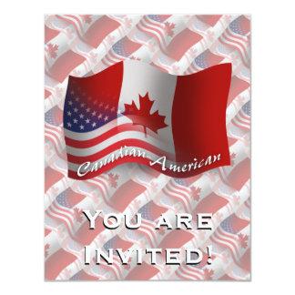 Bandeira de ondulação Canadense-Americana Convite 10.79 X 13.97cm