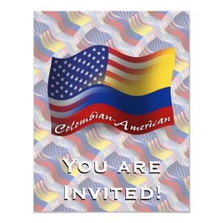 Bandeira de ondulação Colombiano-Americana Convite 10.79 X 13.97cm