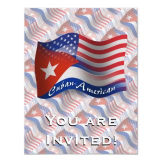 Bandeira de ondulação Cubano-Americana Convite 10.79 X 13.97cm