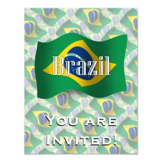 Bandeira de ondulação de Brasil Convite 10.79 X 13.97cm
