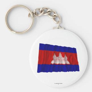 Bandeira de ondulação de Cambodia Chaveiro