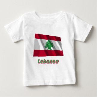 Bandeira de ondulação de Líbano com nome Camiseta Para Bebê